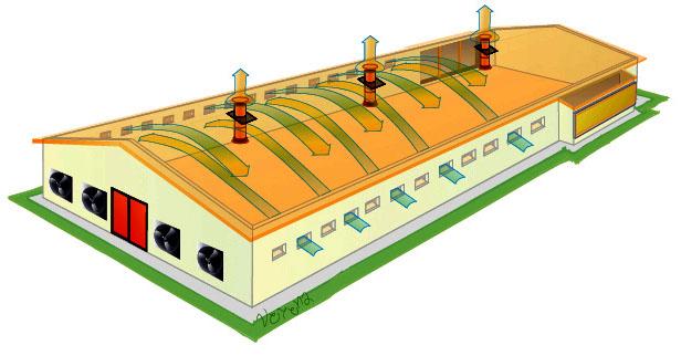Схема вентиляции птицефабрик европейского стандарта