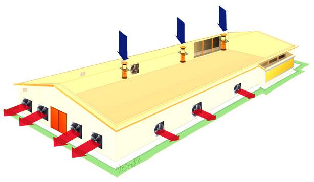 Классическая схема вентиляции птицефабрик