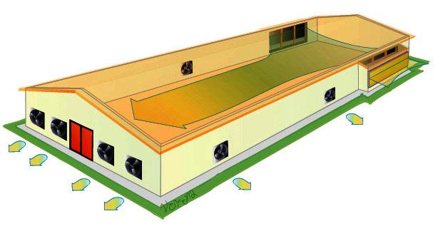 Тоннельная схема вентиляции птицефабрик